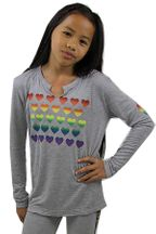 Flowers by Zoe Rainbow Hearts Top Gray