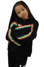 Flowers by Zoe Rainbow Stripe Hoody in Black
