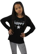 Flowers by Zoe Sequin Heart Top in Black Happy