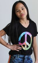 Flowers By Zoe Sequins Peace Top (Size 4)