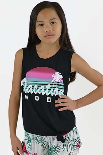 Flowers by Zoe Vacation Mode Top in Black (Size 2T)