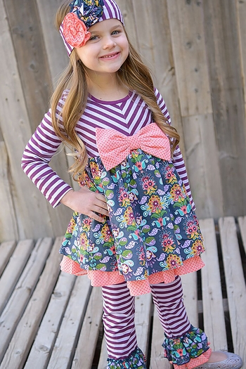 Serendipity Girls Bow Tunic with Ruffle Pant