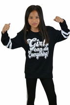 Flowers by Zoe Girls Can Do Anything Sweatshirt (Size LG 10/12)