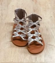 Girls Silver Gladiator Sandals