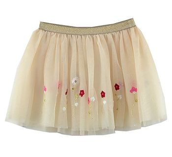 Mayoral Golden Blooms Tulle Skirt (Size 3)