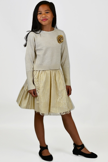 Golden Lace Special Occasion Skirt