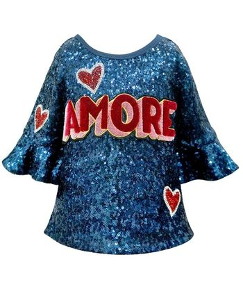 Hannah Banana Amore Blue Sequin Top (Size 7)
