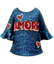 Hannah Banana Amore Blue Sequin Top (7 & 12)