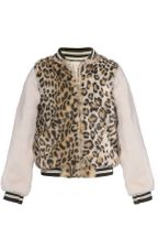 Hannah Banana Animal Print Bomber Jacket