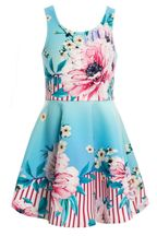 Hannah Banana Blue Floral and Stripe Dress (2T,3T,4,5,6X)