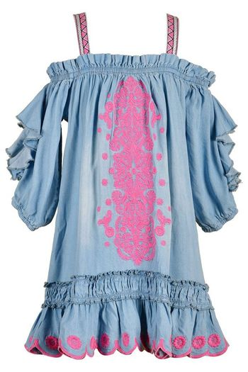 Hannah Banana Chambray Dress with Embroidery SOLD OUT
