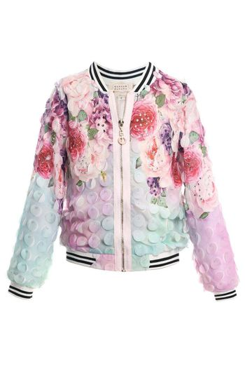 Hannah Banana Floral Bomber Jacket in Pastel Colors