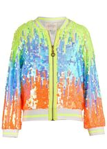 Hannah Banana Girls Bomber Jacket in Colorful Sequins