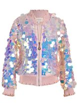 Hannah Banana Holographic Sequin Bomber Jacket
