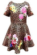 Hannah Banana Leopard Dress with Roses