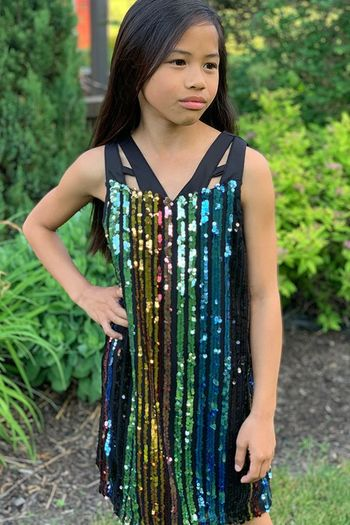 Hannah Banana Rainbow Sequin Dress