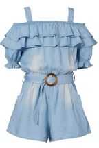 Hannah Banana Ruffled Chambray Romper for Tweens