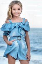 Hannah Banana Ruffled Chambray Romper for Tweens (7,12,14)