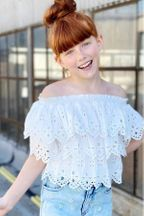 Hannah Banana Ruffled Tiered Top in White (Size 8)