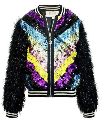 Hannah Banana Sequin Bomber Jacket Fuzzy Sleeves