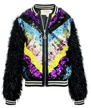 Hannah Banana Sequin Bomber Jacket Fuzzy Sleeves (6 & 6X)