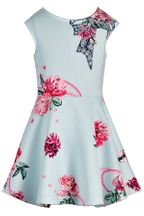 Hannah Banana Skater Dress in Aqua with Flowers (2T,3T,4T,4,6X,7,14)