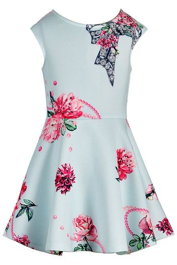 Hannah Banana Skater Dress in Aqua with Flowers (2T,3T,4T)