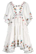 Hannah Banana White Dress for Girls with Embroidery