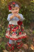 Haute Baby Girls Outfit Autumn Blooms (2T,3T,4T)