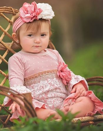 Haute Baby Lace Romper in Mauve (3-6Mos,6-9Mos, 24Mos)
