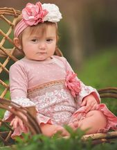 Haute Baby Lace Romper in Mauve (Size 0Mos to 24Mos)