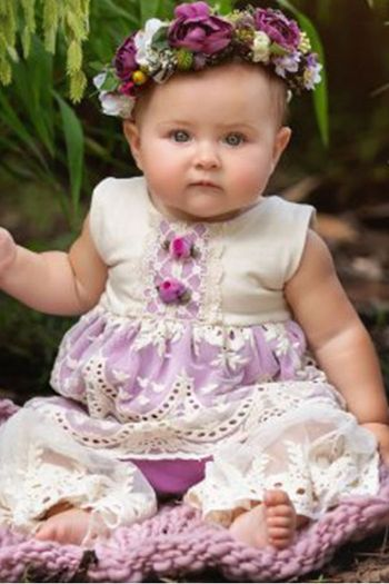 Haute Baby Lacy Lilac Girls Outfit
