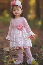 Haute Baby Misty Mauve Infant and Toddler Set (Size 12Mos to 4T)