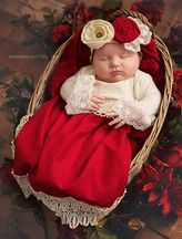 Haute Baby Tis The Season Baby Gown in Red