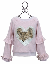 Heart of Gold Pink Sweatshirt (4T,4,6X)