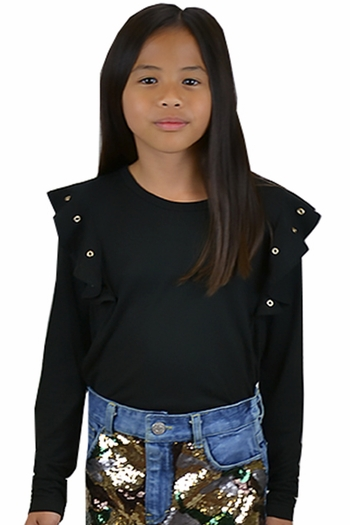 Flowers by Zoe Hold It Together Girls Black Top (Size SM 7/8)