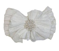 In Awe Couture Headband Ivory with Pearl Rhinestone