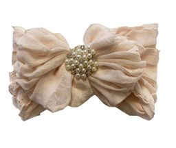 In Awe Headband Blush Shimmer with Pearls