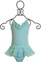 Isobella and Chloe Girls Tank Swimsuit Aqua (4 & 5)