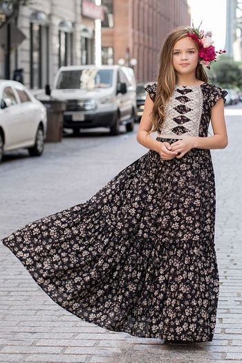 Joyfolie Viola Dress in Black Floral SOLD OUT