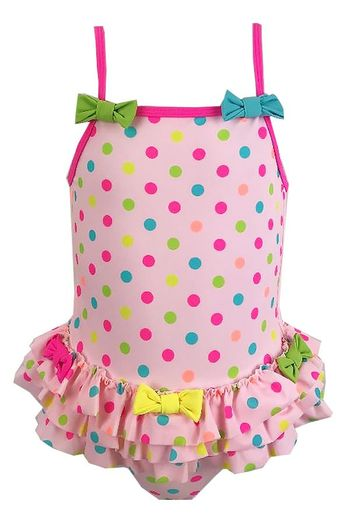 Kate Mack Pink Polka Dot Bow Swimsuit (Size 5)