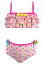 Kate Mack Polka Dot Ruffle Top Bikini in Pink (4T,5,6,7)