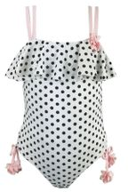 Kate Mack Polka Dot Ruffle Top Swimsuit (2T,10,12)