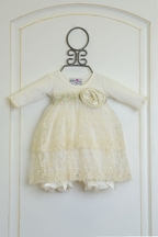 Katie Rose Ivory Baby Bloomer Dress with Flowers (Size 6Mos)