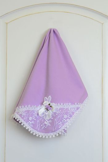 Katie Rose Lilac Blanket with White Lace