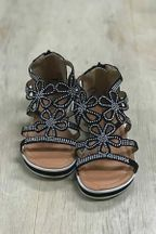 Kensie Girl Black Summer Sandal (11,2Y,3Y,4Y)