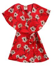 Kiddo Red Floral Romper for Girls (Size 12)