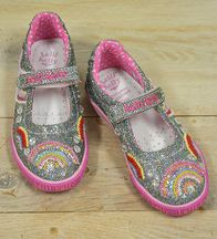 Lelli Kelly Rainbow Shoes Silver Glitter (8,9,10,13,2Y)