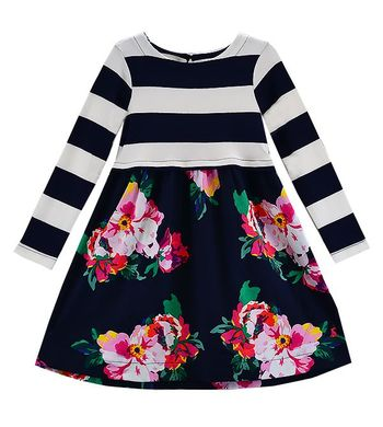 Little Joules Navy Floral and Stripe Dress