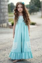 Little Prim Ireland Maxi Dress Aqua (2T,3T,4T)